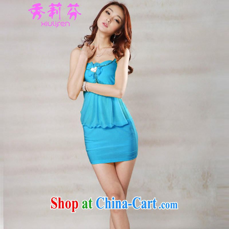Hsiu-li-fen 2015 new night female fashion sense of beauty video thin straps double-yi skirt JM E - 082 - 1319 blue are code
