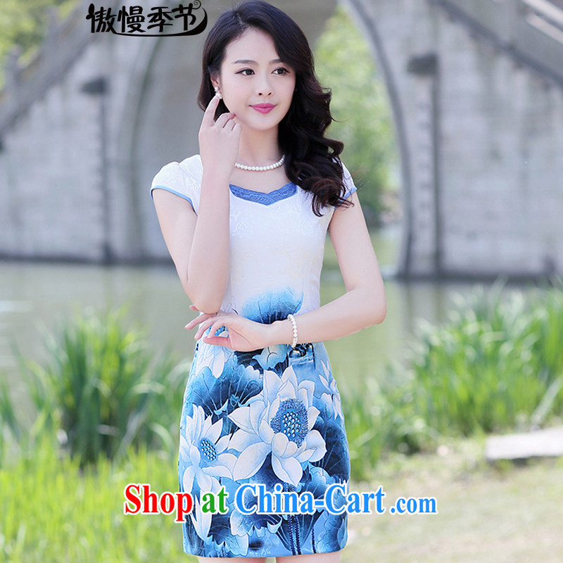 Arrogant season 2015 summer new stylish women's clothing style cheongsam dress improved beauty dress short-sleeved short blue lotus XXXL