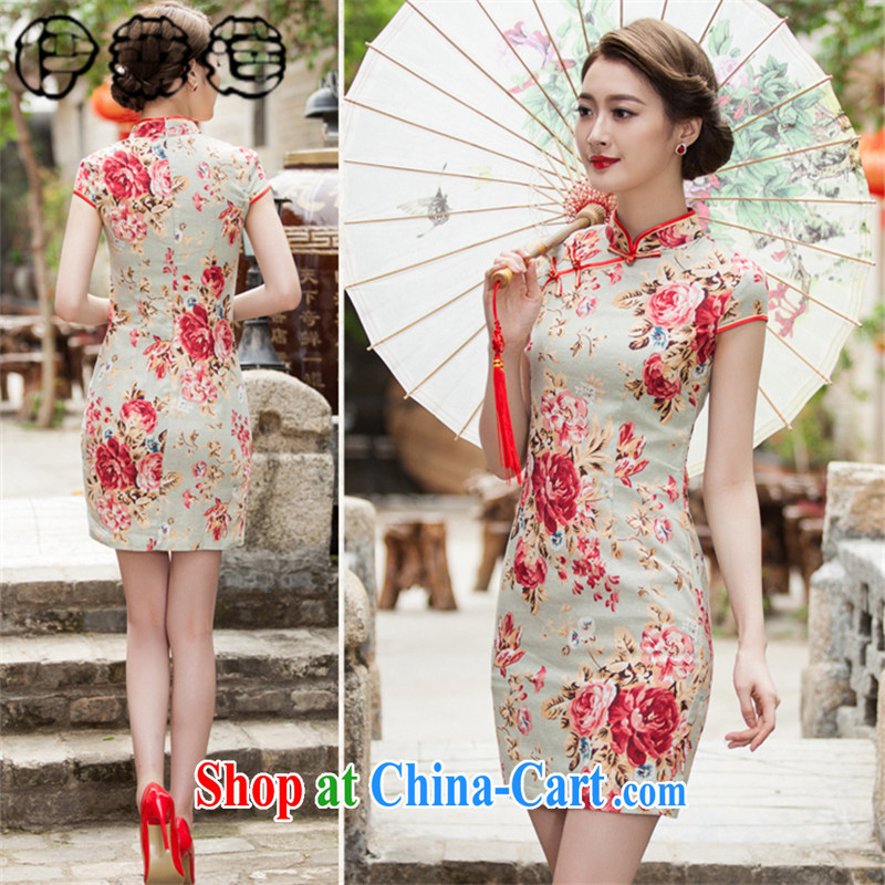Mr. Lin 2015 summer stylish atmosphere improved retro stamp outfit daily short-mouth sporting Chinese beauty graphics thin cotton dress suit XXL