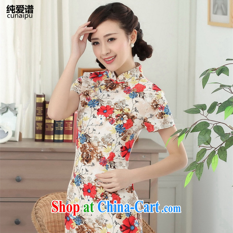 Pure Love female summer new retro republic of literature and art, cotton the improved cotton Ma girls summer short sleeve cheongsam dress picture color 2 XL