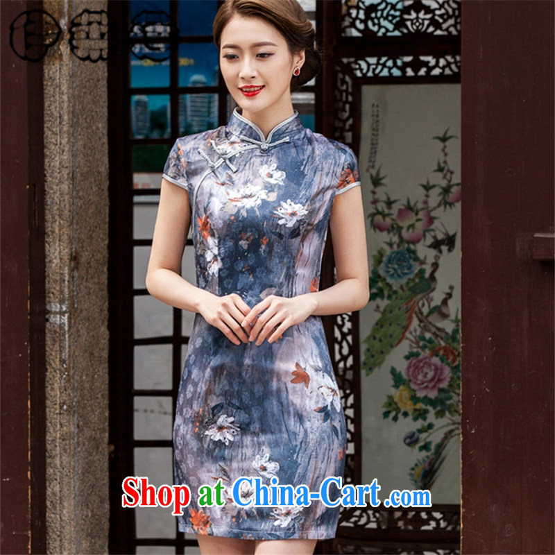 Mr. Lin 2015 summer, Retro Ethnic Wind Chinese beauty graphics thin short-sleeve cheongsam dress stamp painting short stretch cotton robes XL paintings
