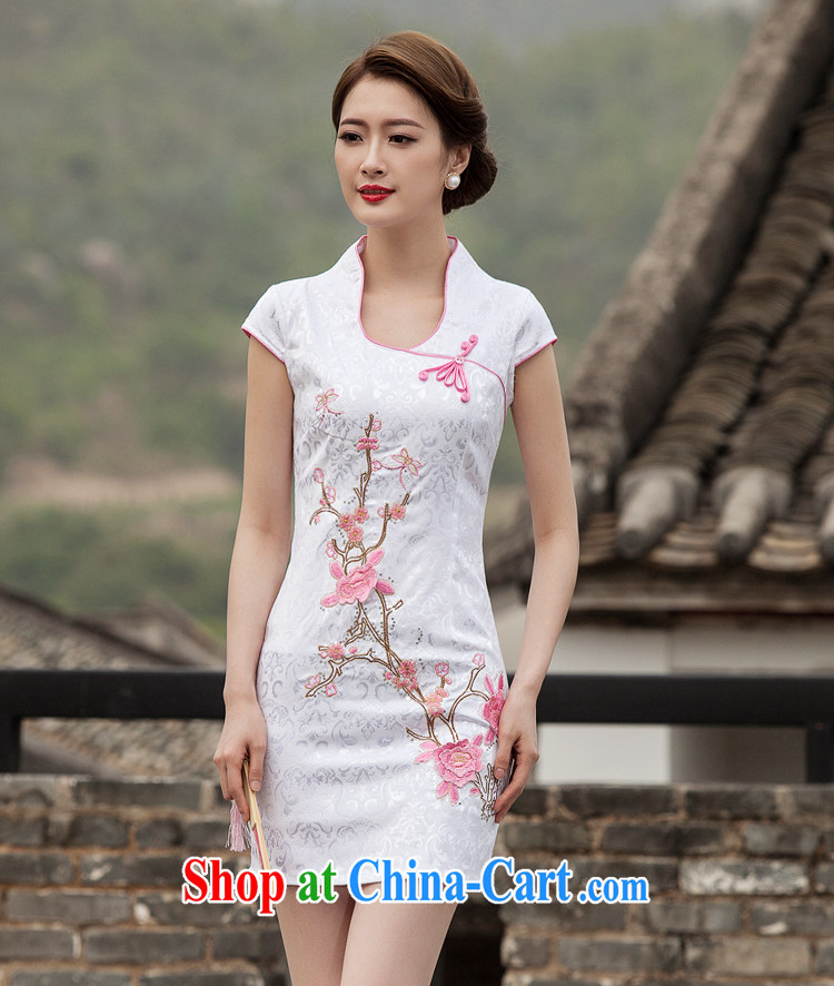 Mr. Lin 2015 summer short, with high-end style embroidery improved stylish daily ritual clothing dresses beauty graphics thin without the forklift truck retro short cheongsam dress pink XL pictures, price, brand platters! Elections are good character, the national distribution, so why buy now enjoy more preferential! Health
