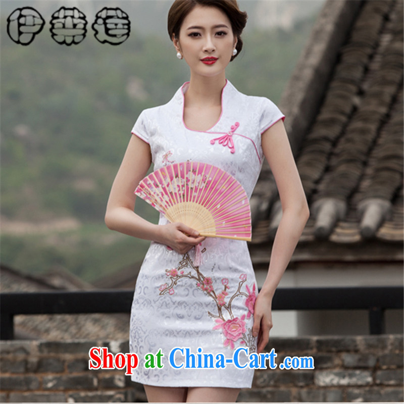 Mr. Lin 2015 Mr Ronald ARCULLI, Mr Tang with high-end style embroidery improved stylish daily ritual clothing dresses beauty graphics thin without the forklift truck retro short cheongsam dress pink XL