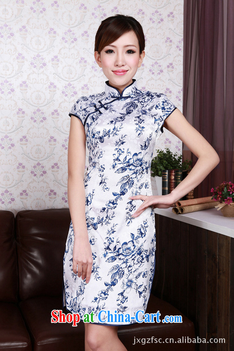 The Balaam poem summer female its Junction porcelain improved elegant short-sleeved short cheongsam dress with blue and white porcelain 2 XL pictures, price, brand platters! Elections are good character, the national distribution, so why buy now enjoy more preferential! Health