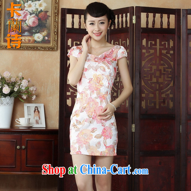 The Balaam poetry female summer new upscale hand carved three-dimensional crop improvement, short-sleeved qipao Dress Suit 2 XL