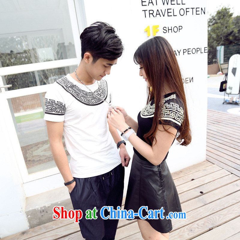 2015 spring and summer couples Ethnic Wind pattern stamp maiden honey replace short-sleeved shirt T larger white XL