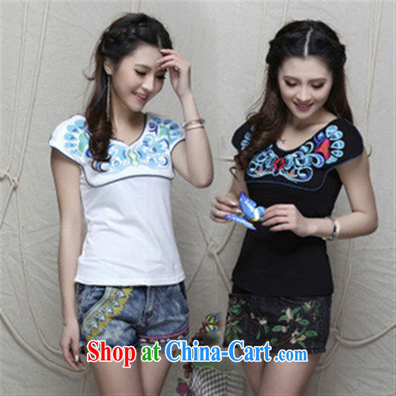 801 W Ethnic Wind women spring and summer new sexy V collar embroidered cotton short-sleeved shirt T Butterfly Dance black L