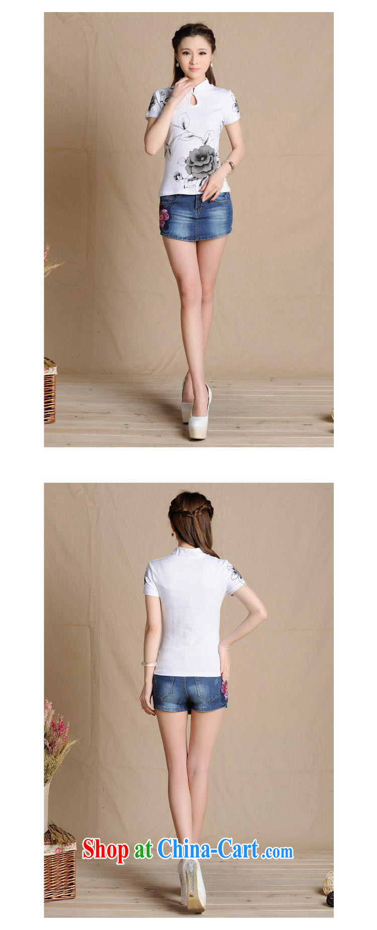 5908 L Ethnic Wind women's clothing spring and summer, Sepia ink stamp cultivating solid cotton T pension white 2XL pictures, price, brand platters! Elections are good character, the national distribution, so why buy now enjoy more preferential! Health