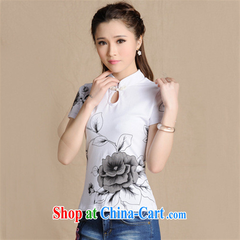 5908 L Ethnic Wind women's clothing spring and summer, Sepia ink stamp cultivating solid cotton T pension white 2XL