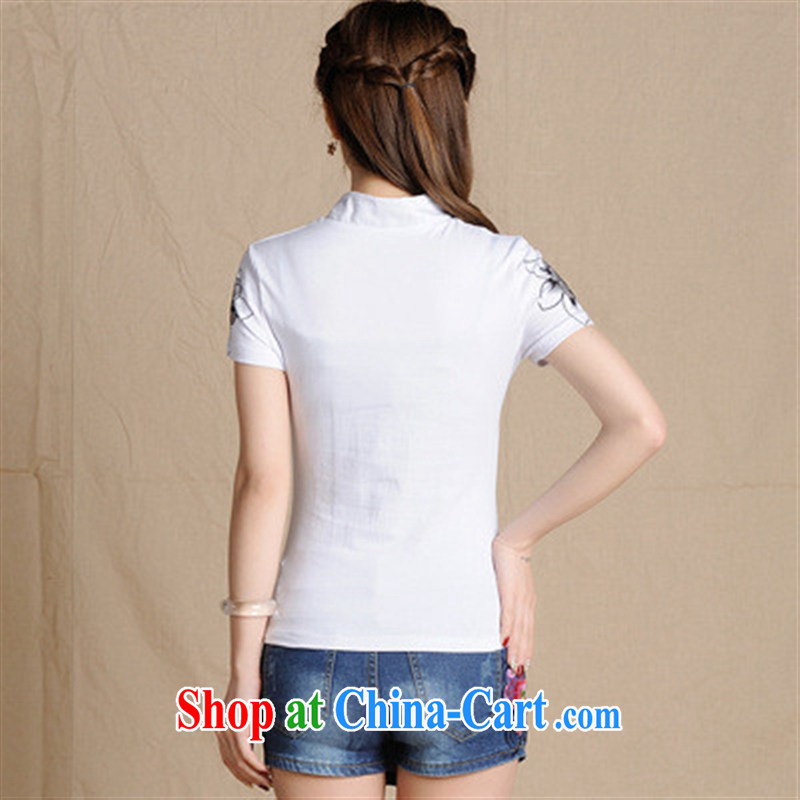 5908 L Ethnic Wind girl with spring and summer, Sepia ink stamp duty cultivating Solid Pure Cotton T pension white 2XL, Iraq, and, on-line shopping