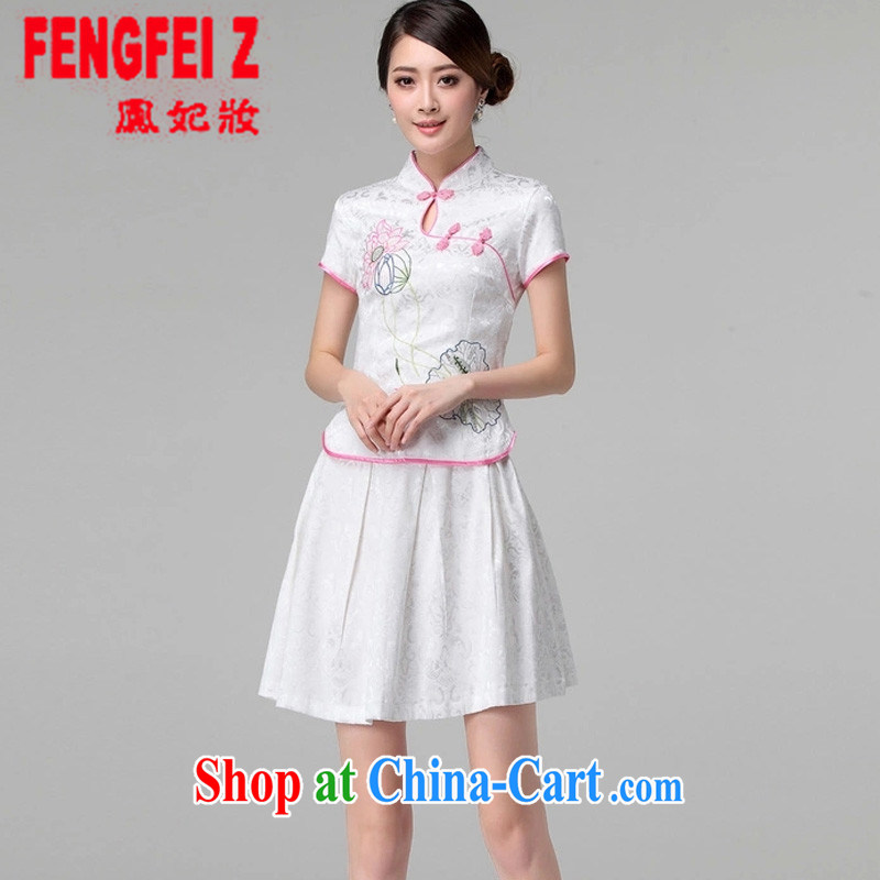 Feng Fei, Colombia 2015 spring and summer female new beauty routine retro long-sleeved improved stylish outfit two piece kit _1121 white short-sleeved L