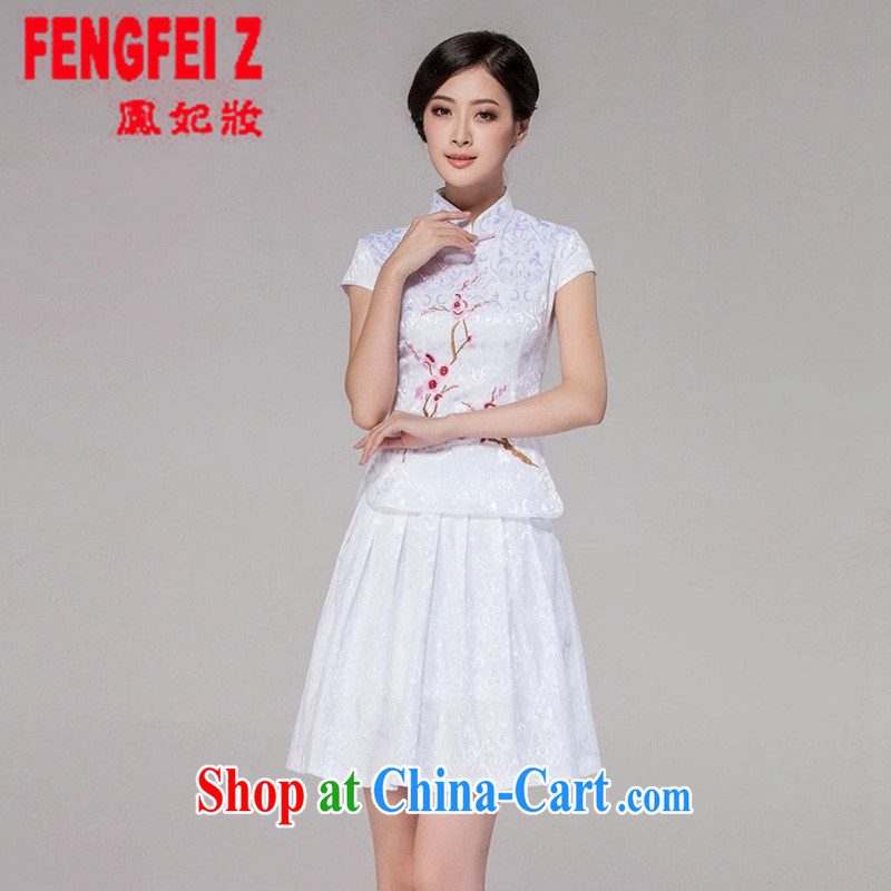 Feng Fei, Colombia 2015 spring and summer new women Tang with daily qipao dresses high-end retro style two-part kit _1125 white XXL