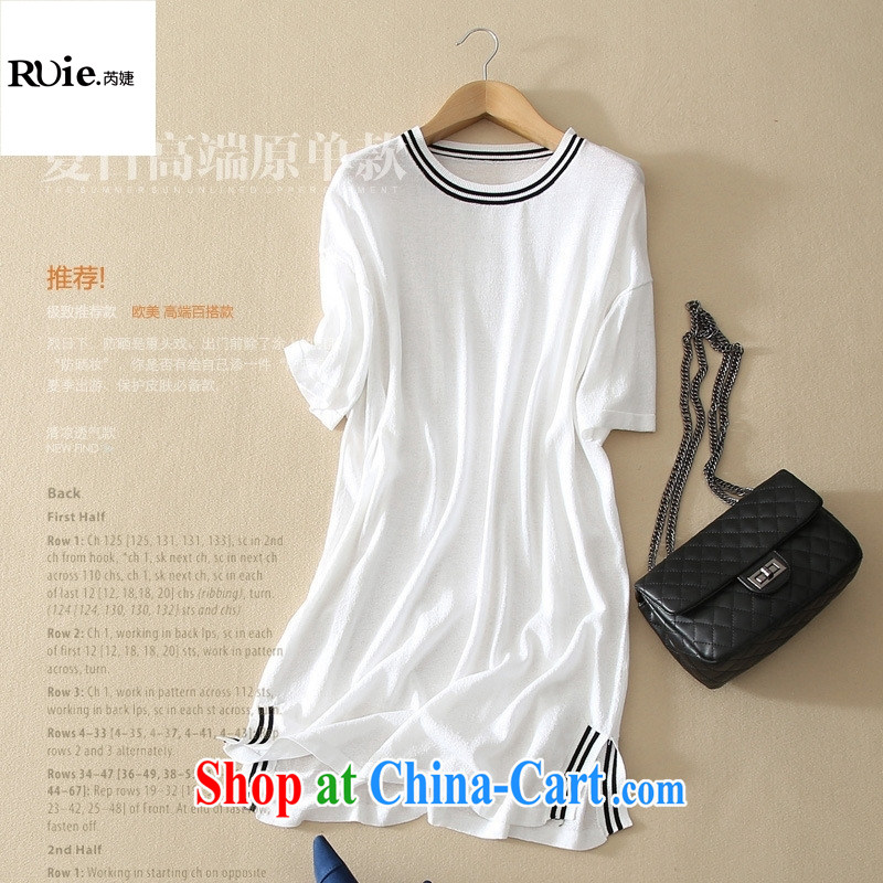 The European site new elegance ice silk linen knitting long T pension women and two side on the truck black-and-white classic female white L