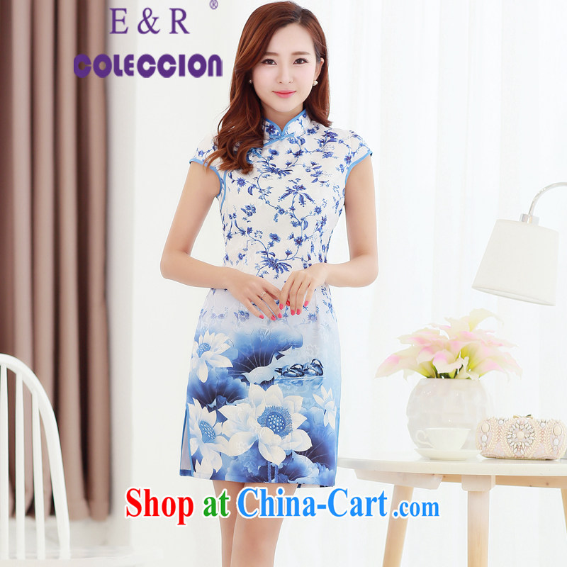 2015 new dresses and retro spring dresses dresses summer daily short improved cheongsam dress summer girl picture color XXL