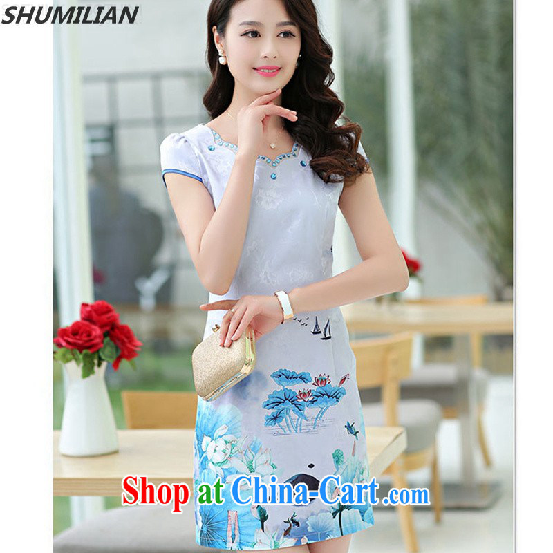 Mrs M land 2015 summer new petal collar inserts drill fashion cheongsam beauty graphics thin blue XXL