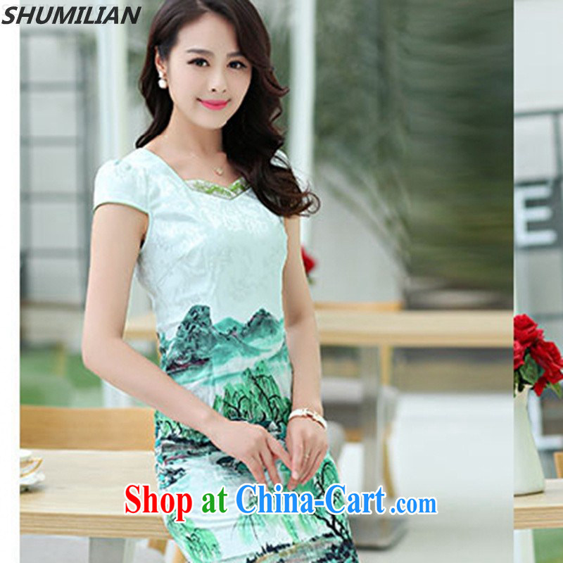 Mrs M, summer 2015 with new stylish stamp personalized simple round collar cheongsam green XXL
