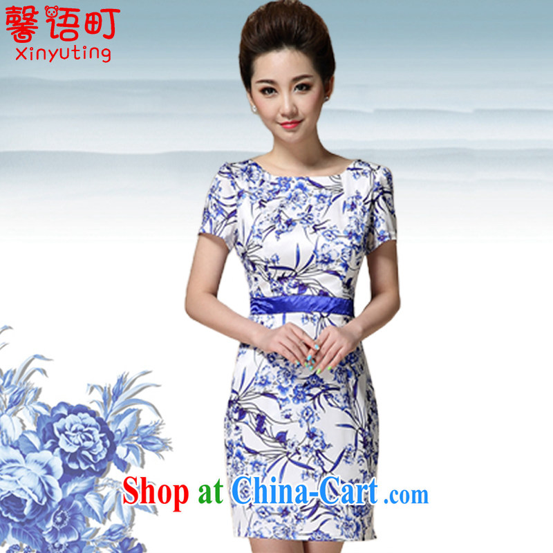 Xin, Japanese Foreign Minister Nobutaka Machimura summer 2015 new sleek beauty blue and white porcelain stamp cheongsam dress 8991 blue XXXL