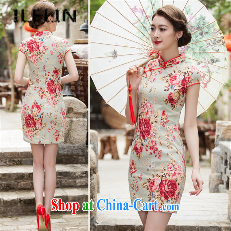 ILELIN summer 2015 classic and elegant silk cheongsam dress retro dress short daily improved dress beauty graphics thin style sporting goods ends suit XXL
