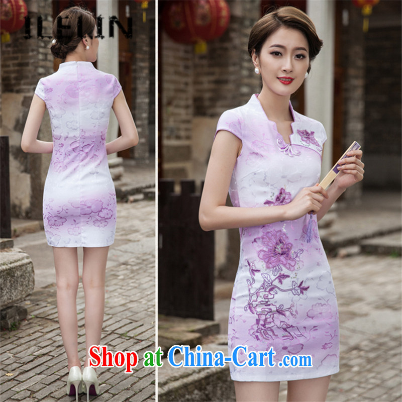 ILELIN summer 2015, female Chinese Tang is improved and stylish lounge beauty daily retro China wind short cheongsam dress party flap style cheongsam violet XXL