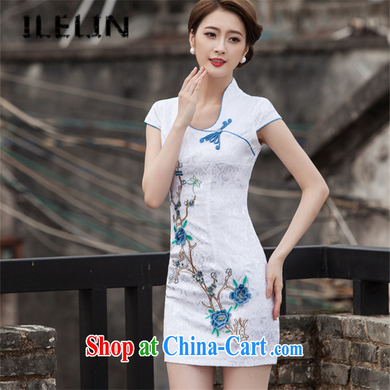 ILELIN 2015 summer stylish Cultivating Female retro daily Chinese improved cheongsam dress high-end embroidery style short, non-truck outfit skirt blue XL