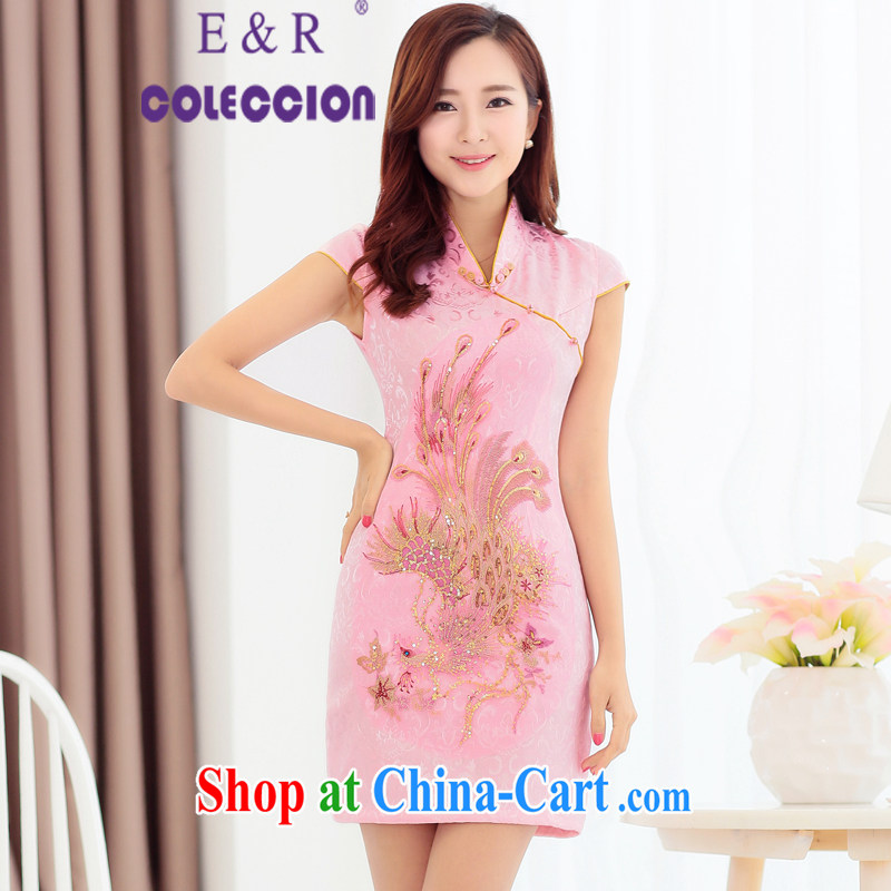 2015 new cheongsam dress Chinese Dress red lace retro improved bridal toast clothing pink XXL