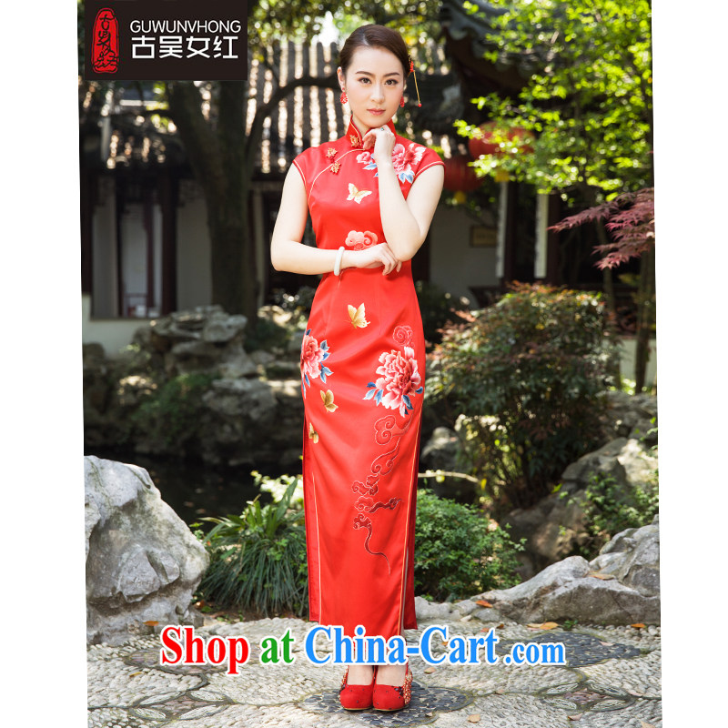 Mr. Wu female Red 2015 summer new cheongsam Xiangyun Peony long black XXL