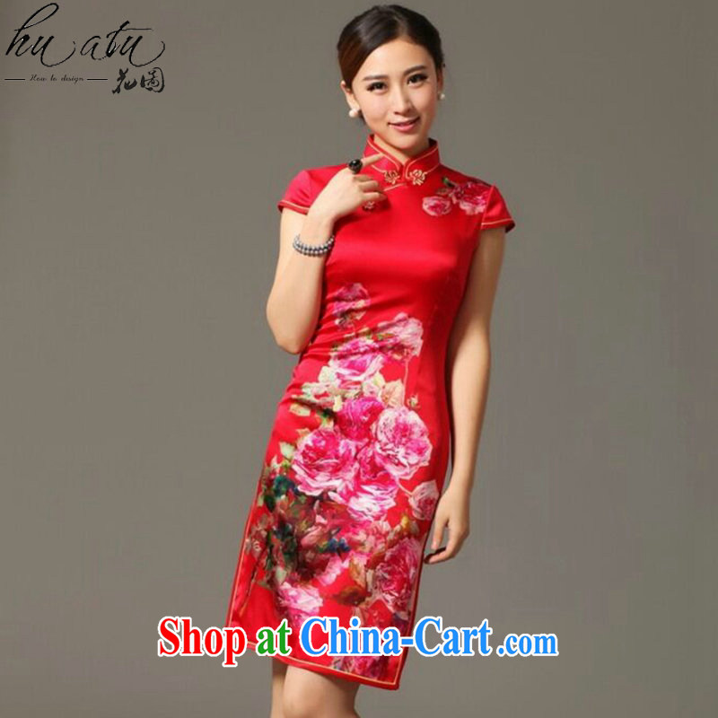 spend the summer new, Ms. dos santos cheongsam silk digital poster stretch elegant back-door bows. Silk Cheongsam shown in Figure 3XL, spend figure, shopping on the Internet
