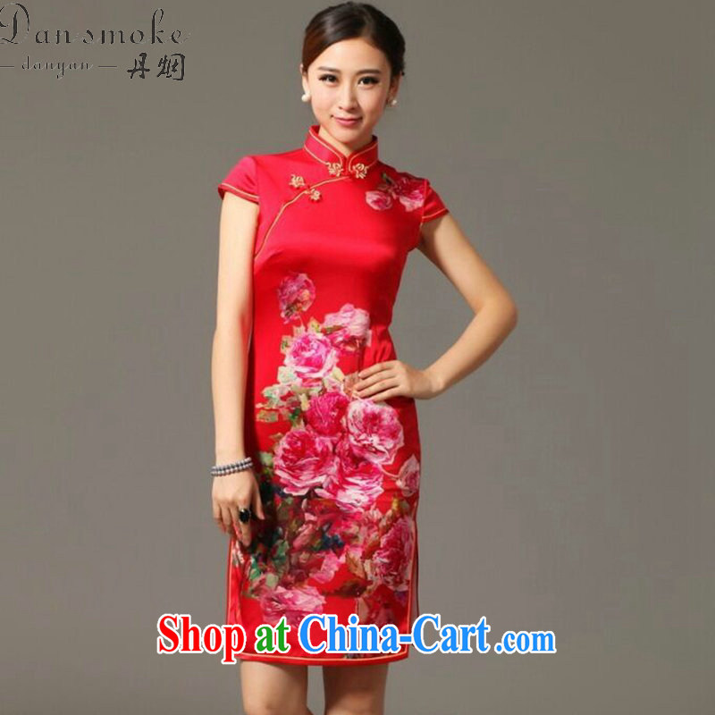 Bin Laden smoke summer new, Ms. dos santos cheongsam silk digital poster stretch elegant back-door bows clothes Silk Cheongsam as figure 3XL