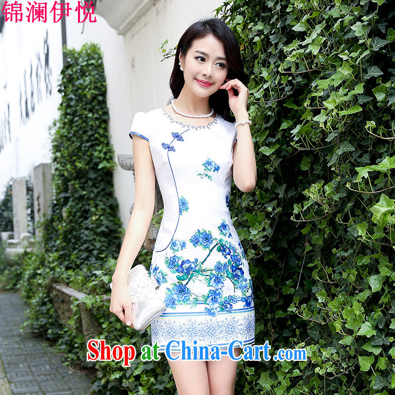 kam world the Hyatt 2015 summer new small fresh robes-skirt with high-end beauty graphics thin retro jacquard short temperament lady blue rose XXL