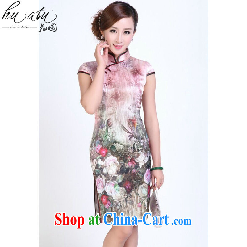 spend the summer outfit, Ms. heavy silk digital painting dresses stylish and simple spring sauna Silk Cheongsam short figure 3XL