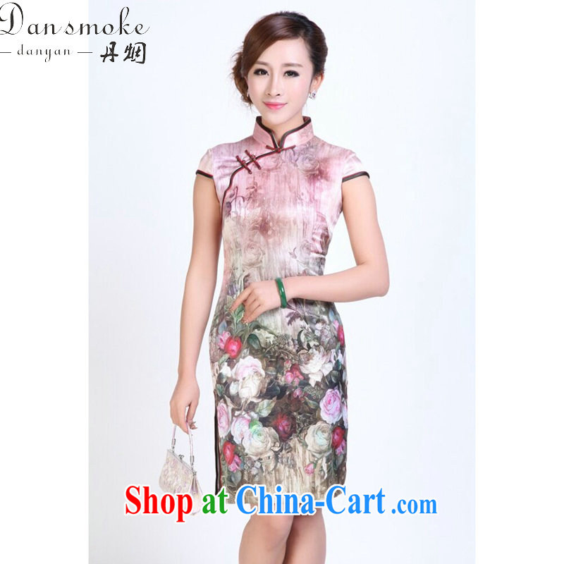 Bin Laden smoke Ms. summer dresses heavy silk digital painting dresses stylish and simple spring sauna Silk Cheongsam short figure 3XL