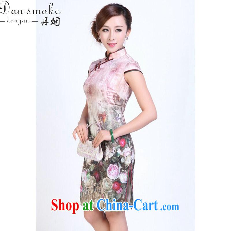 Bin Laden smoke, Ms. summer dresses heavy silk digital painting dresses stylish and simple spring sauna Silk Cheongsam short figure 3XL, Bin Laden smoke, shopping on the Internet