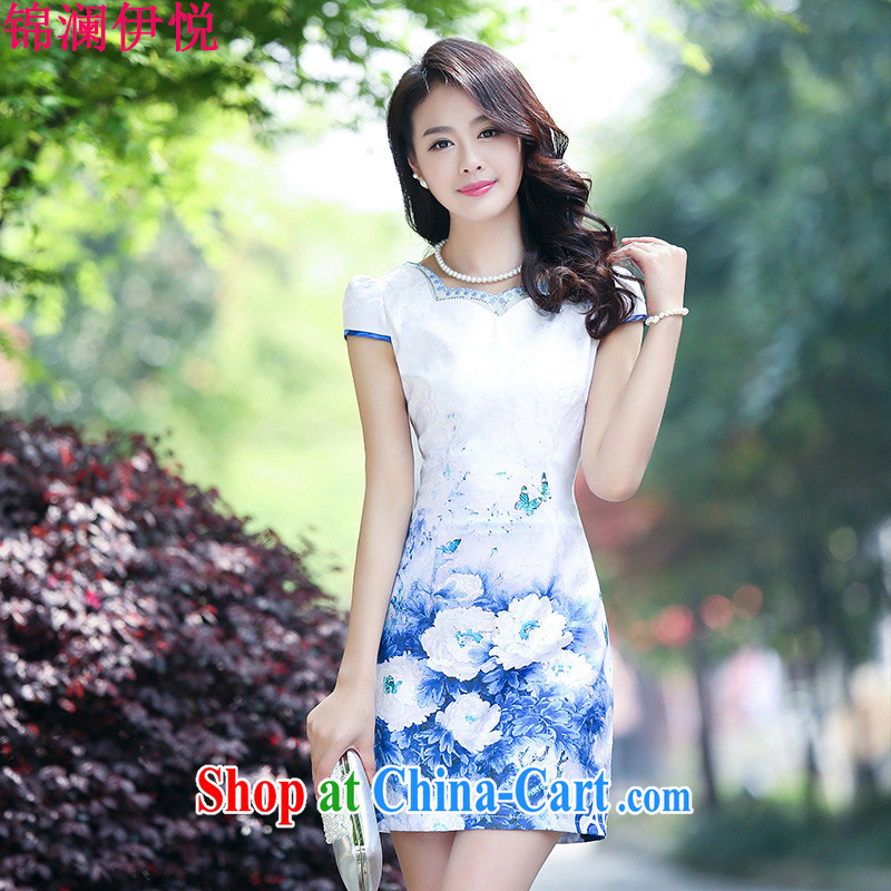 world, the Hyatt Regency dress short-sleeved 2015 summer lady beauty Peony stamp dress retro dresses women clothing tea show moderator blue flower XL