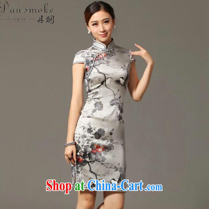 Bin Laden smoke-free summer new female dresses classic Silk Cheongsam retro classy Magpies bad news sauna Silk Cheongsam as figure 3XL, Bin Laden smoke, online shopping