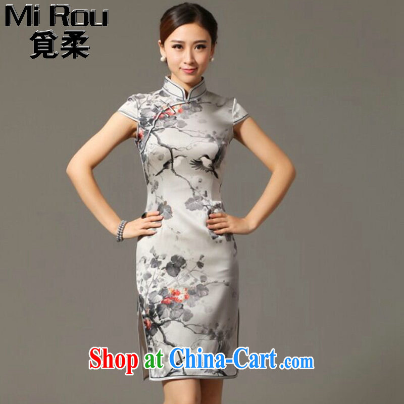 Find Sophie summer new, female-dresses classic Silk Cheongsam retro classy Magpies bad news sauna Silk Cheongsam figure 3XL