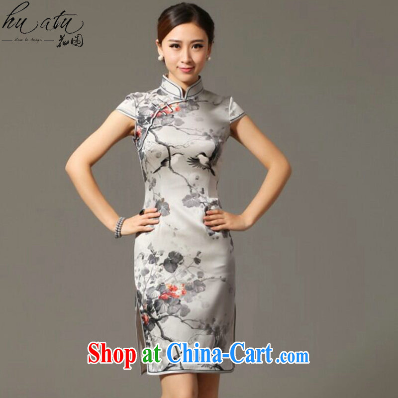 spend the summer new female dresses classic Silk Cheongsam retro classy Magpies bad news sauna Silk Cheongsam figure 3XL