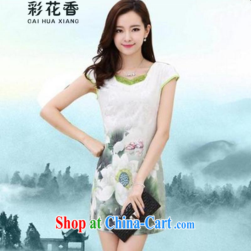 Colorful Flowers 2015 new products, floral summer dress short-sleeved beauty charm retro stamp outfit MOM 6659 installation picture color XXXL