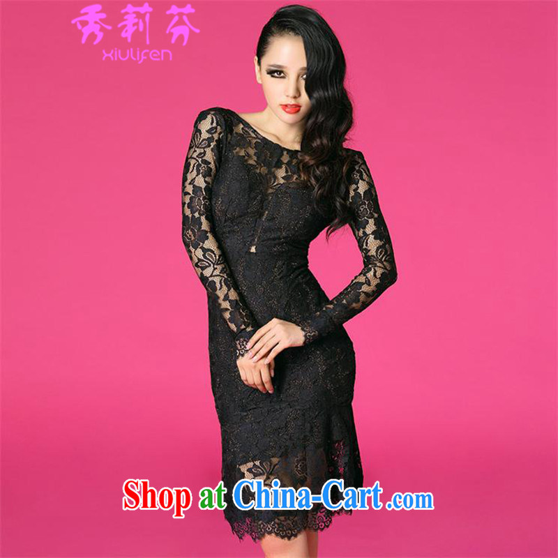 Hsiu-li-fen 2015 new women in Europe and America with the sexy and elegant large terrace back lace three-dimensional dresses B - 522 - 8763 black L