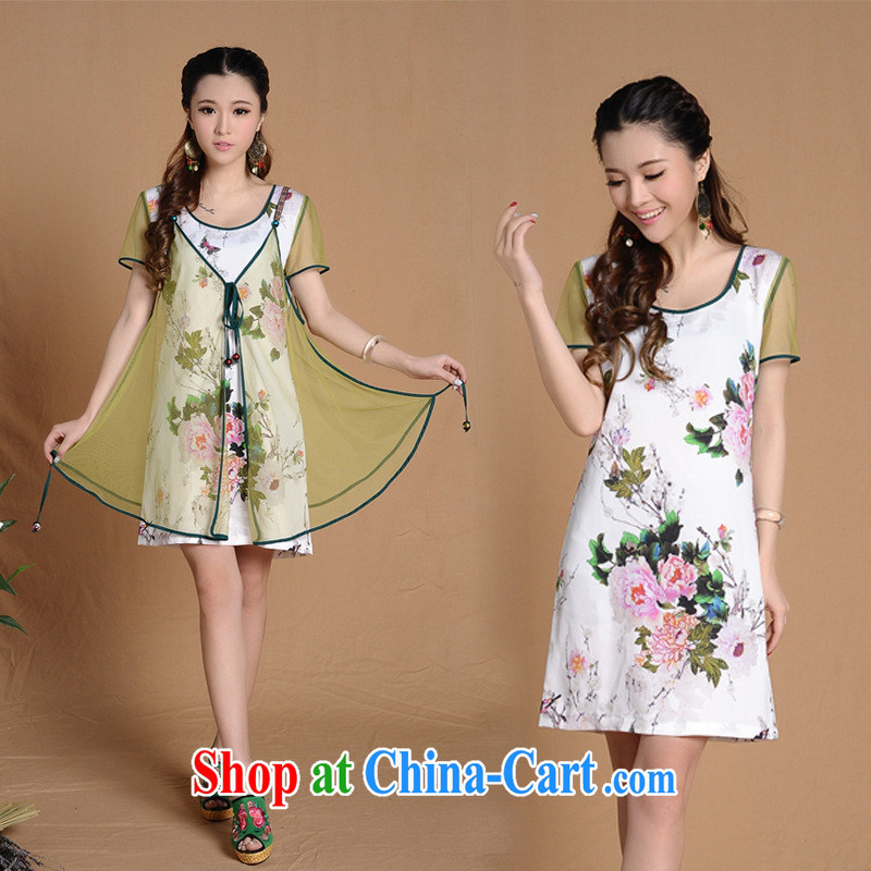 7257 H #Ethnic Wind new summer decoration, improved cheongsam picture color XXL