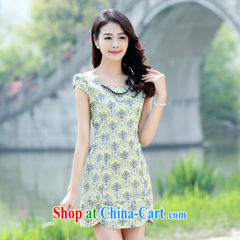 Air Shu Diane 2015 summer new sexy cheongsam dress cultivating improved retro daily short spring dresses Yellow Flower XL