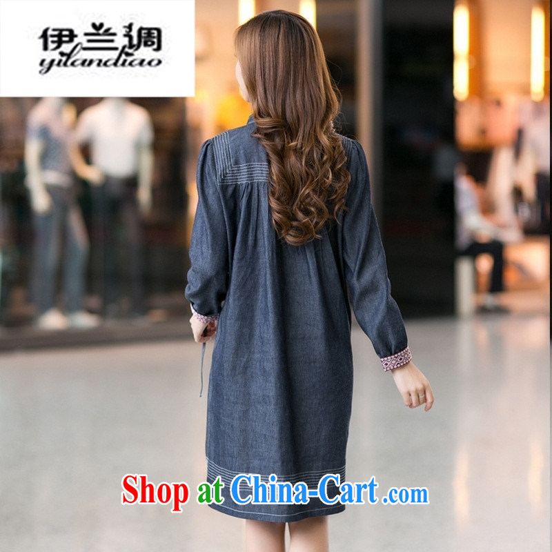 Autumn 2014 the new sweet Ethnic Wind maximum code cowboy dress thick sister skirt 3053 photo color XXXL, Iraq, and, on-line shopping