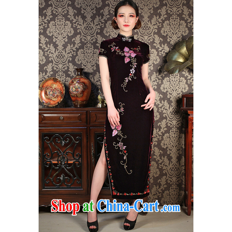 Take the rain. Summer stylish improved standard retro manually staple Pearl velvet cheongsam dress long cheongsam shown in Figure 3XL