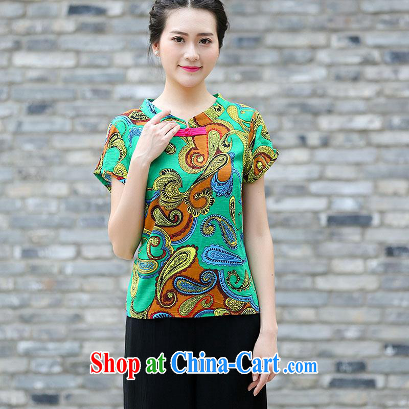 Summer 2015 new middle-aged and older units the Tang with a short-sleeved T-shirt and stylish lounge middle-aged short-sleeved beauty graphics thin mother with literary and art nouveau Ethnic Wind female Green 2 XL