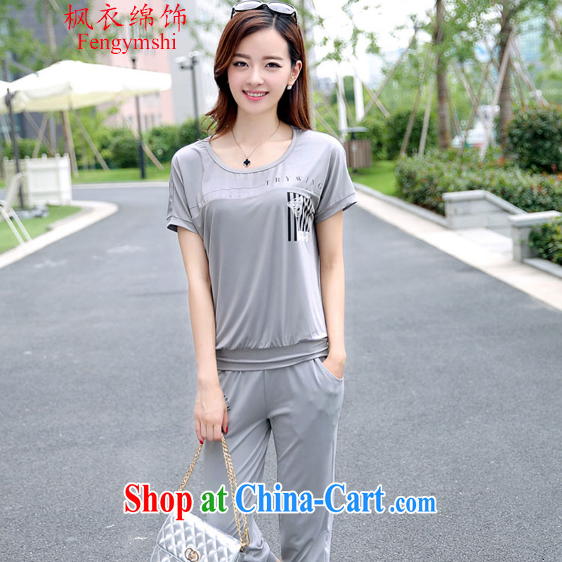 Feng Yi cotton ornaments the 2015 code female leisure taxi short-sleeve Korean version of the new, two-piece 3010 _BA 1016 light gray 3 XL .