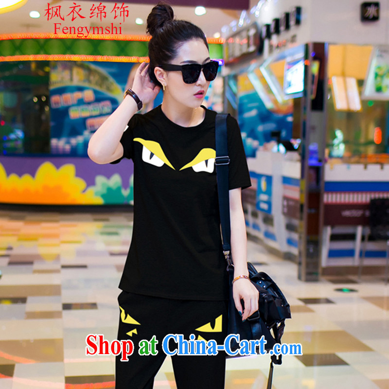 Feng Yi cotton trim 2015 new small monster eyes with round collar shirt T castor pants sweater Kit female summer casual wear B 3302 black . XXL