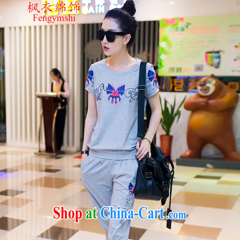 Feng Yi cotton trim new, larger female and stylish short-sleeve two-piece sport and leisure package female, 7 summer pants B 3302 gray XXL .