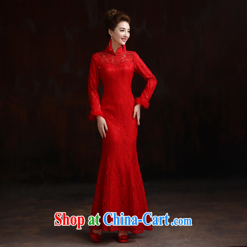 Pure bamboo love dresses wedding dresses red wedding dress bridal toast long-sleeved gown improved thick dresses embroidery beads, long marriage photography show red is tailored to please contact customer support.