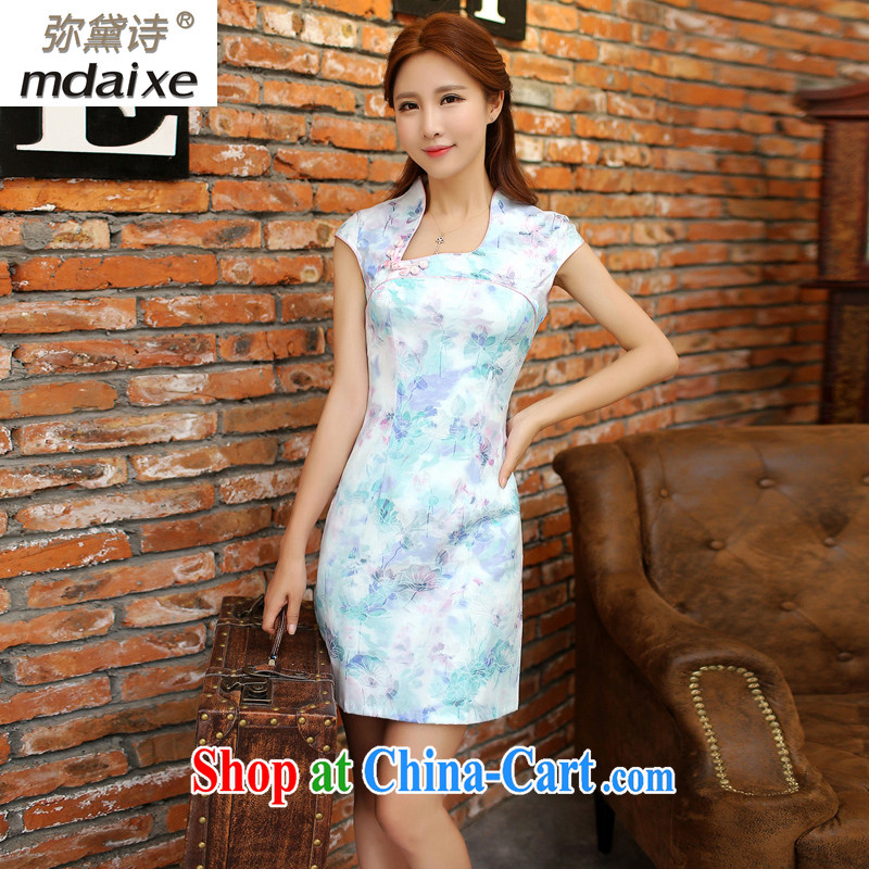 The Estee Lauder poetry mdaixe retro dresses stylish improved cheongsam dress summer short, cultivating the waist graphics thin everyday dress cheongsam dress summer 9121 blue M