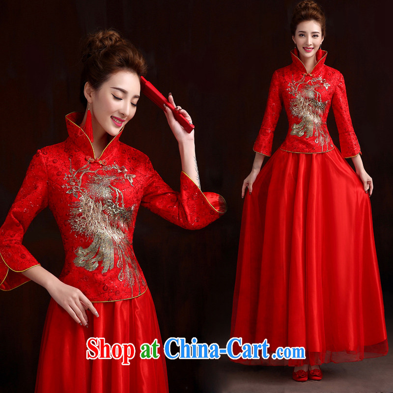 Pure bamboo yarn love 2015 New Classic bridal bridal dresses cheongsam dress improved high quality dresses brides dresses toast 2 piece of embroidery robe red XXXL