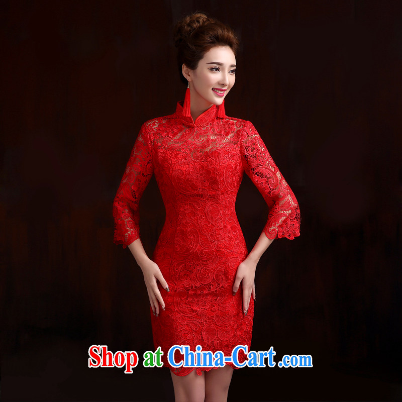 Pure bamboo love yarn classic bridal bridal short cheongsam dress water-soluble lace short, high quality dresses bridal toast, long-sleeved qipao gown red tailored contact Customer Service